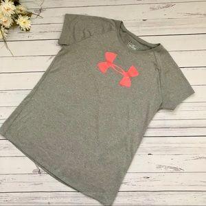 Girls Grey Under Armour Short Sleeve Shirt